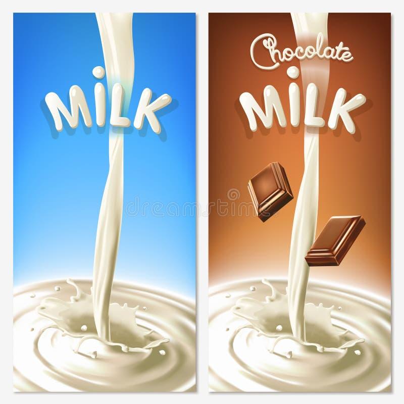 O leite de fluxo ou o cacau do respingo realístico com chocolate remendam no fundo azul e marrom Elementos do projeto do vetor ilustração royalty free