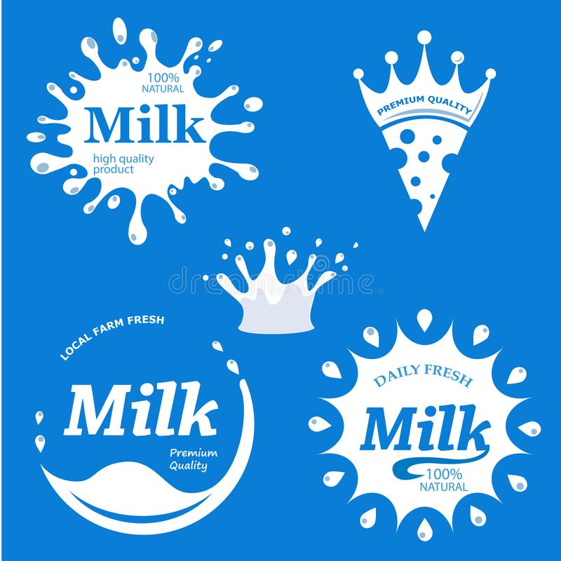 O leite etiqueta o grupo do vetor ilustração do vetor