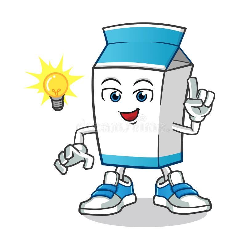 O leite obteve uma ilustração dos desenhos animados do vetor da mascote da ideia ilustração stock