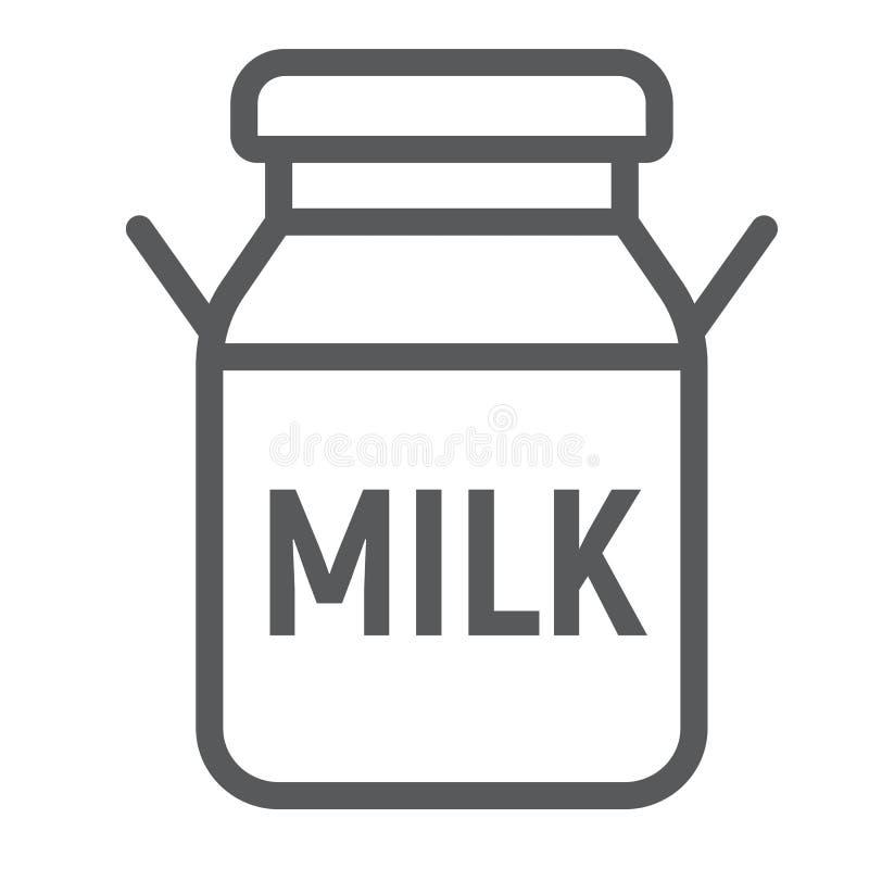 O leite pode alinhar o ícone, o cultivo e a agricultura ilustração stock