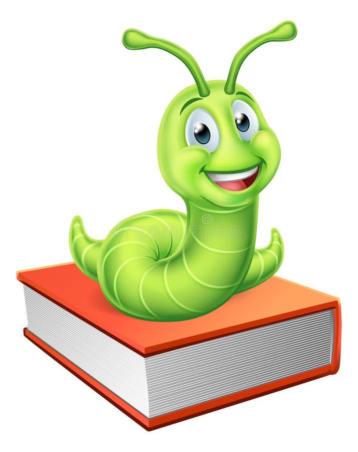 O leitor ávido Caterpillar Worm no livro ilustração stock