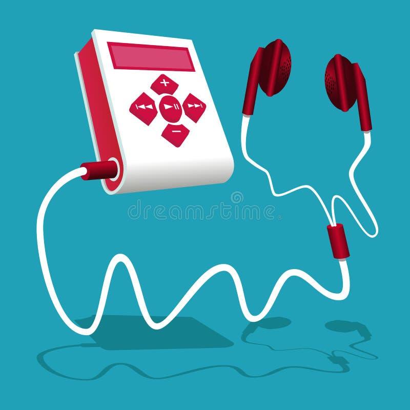 O leitor de mp3 branco e vermelho é conectado ao fone de ouvido ilustração royalty free