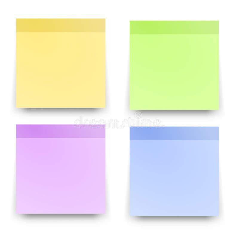 O lembrete pegajoso nota papéis coloridos realísticos ilustração stock