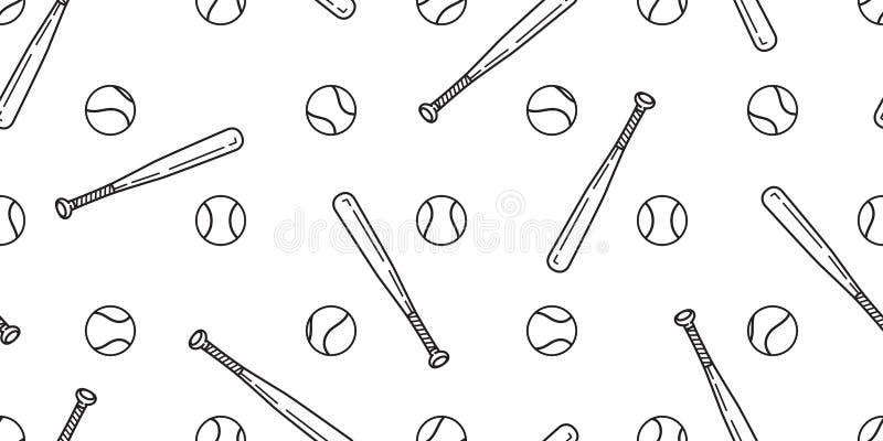 O lenço sem emenda do bastão de beisebol do softball do vetor do teste padrão do basebol isolou o papel de parede do fundo da tel ilustração royalty free