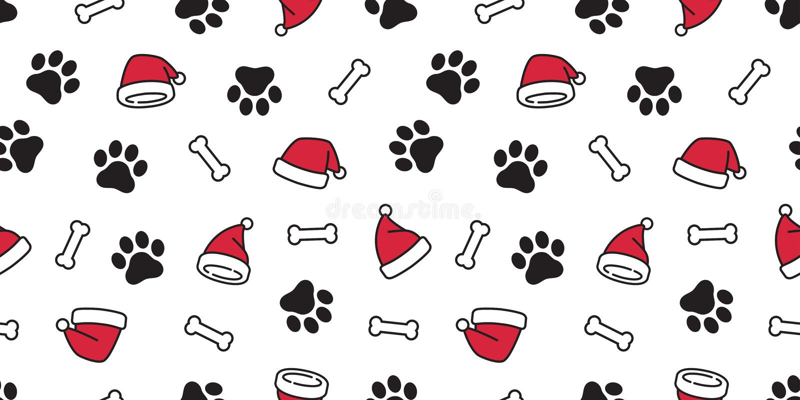 O lenço sem emenda dos desenhos animados do fundo da telha do osso do buldogue francês do chapéu de Santa Claus Xmas do Natal do  ilustração royalty free