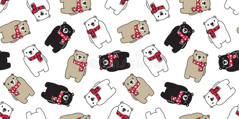 O lenço sem emenda Santa Claus Xmas da árvore de Natal do urso polar do vetor do teste padrão do urso isolou a repetição do fundo ilustração stock