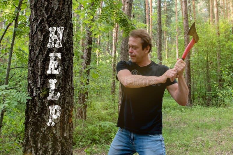 O lenhador corta a madeira com um machado, a árvore aparece a inscrição: Ajuda, DIA de VERÃO ENSOLARADO imagem de stock