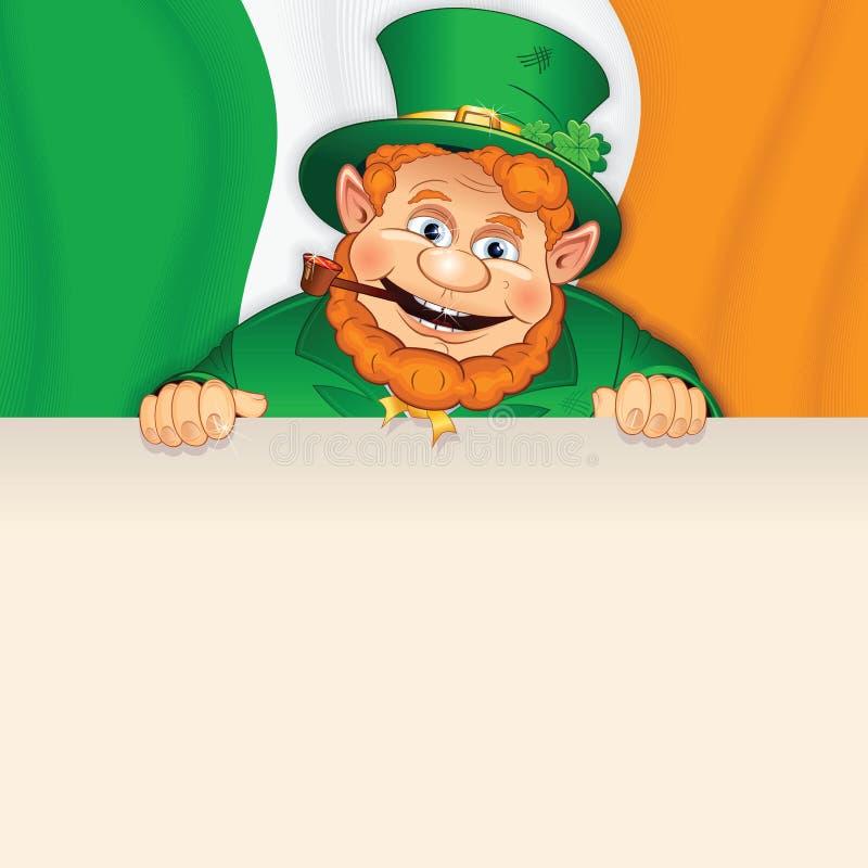 O Leprechaun dos desenhos animados com assina sobre a bandeira irlandesa. ilustração do vetor