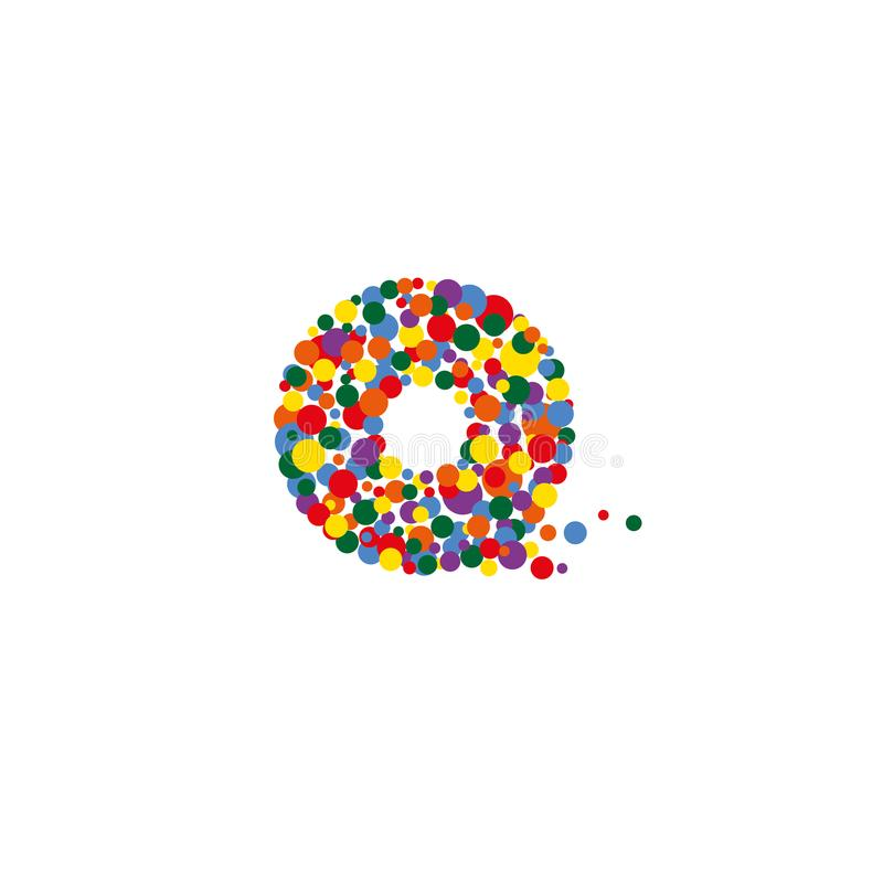 O-letter from colored bubbles. Bubbles design. stock photography