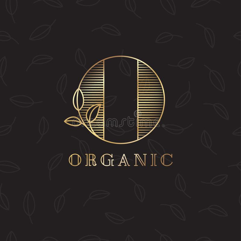 O letter. O monogram. Organic cosmetic or meal emblem. Letter O with leaves on a dark background. royalty free illustration