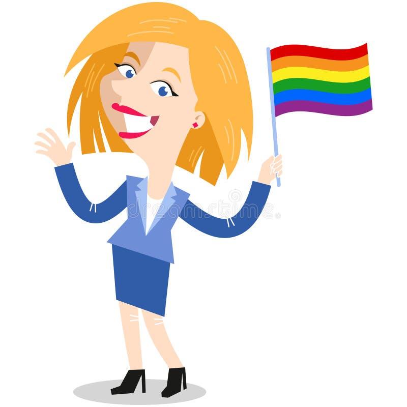 O lgbt de ondulação caucasiano louro de sorriso do arco-íris da mulher de negócio dos desenhos animados embandeira a comemoração  ilustração royalty free