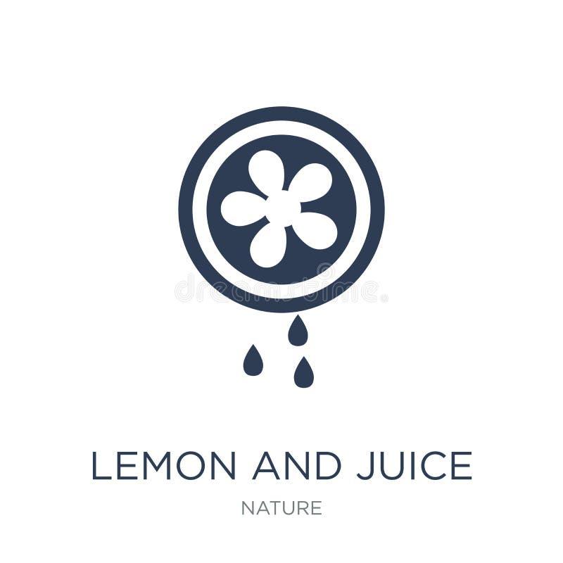 o limão e o suco saem o ícone Limão liso do vetor e juic na moda ilustração stock