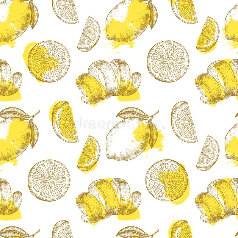 O limão fresco frutifica teste padrão O teste padrão sem emenda amarelo dos citrinos, limões imprime o vetor ilustração do vetor