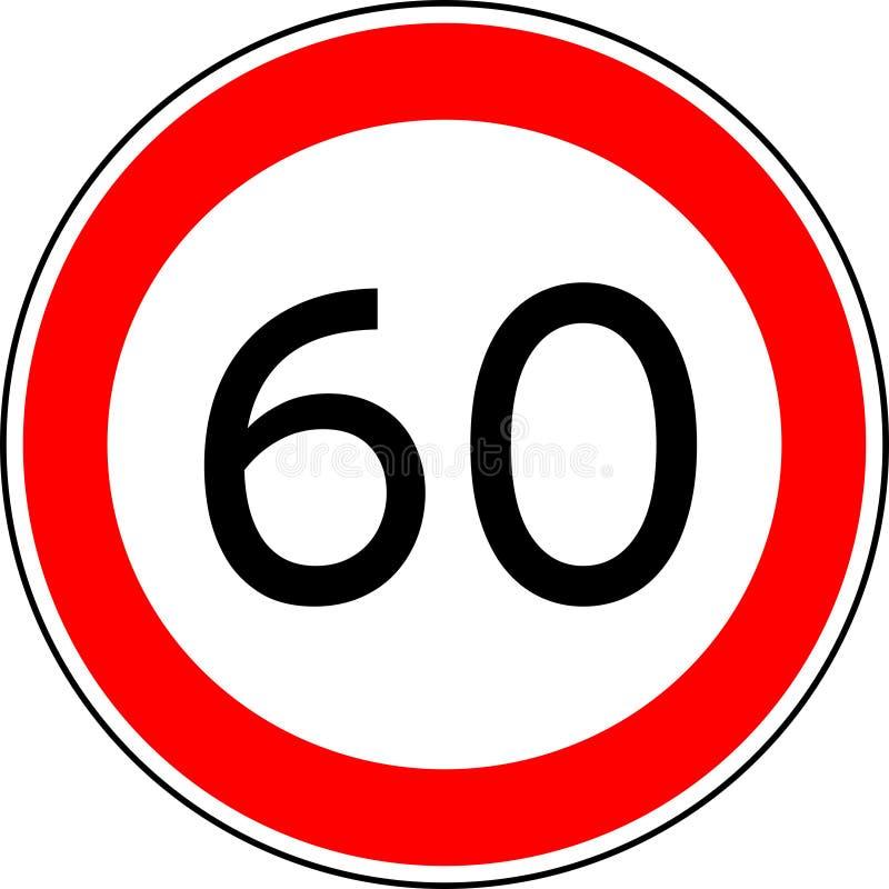O limite de velocidade 60 do sinal de tráfego, vector o kmh da velocidade máxima 60 ilustração royalty free