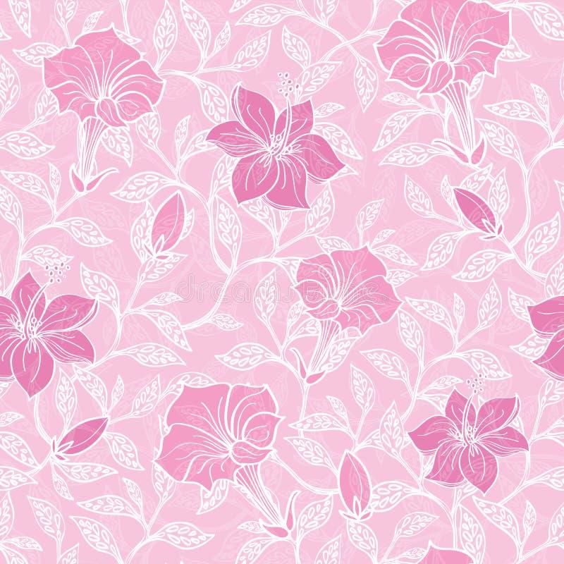 O lineart cor-de-rosa macio do vetor floresce teste padrão sem emenda ilustração stock