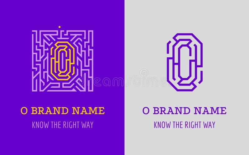 O listu logo labirynt Kreatywnie logo dla korporacyjnej tożsamości firma: listowy O Logo symbolizuje labitynt, wybór prawa ścieżk royalty ilustracja