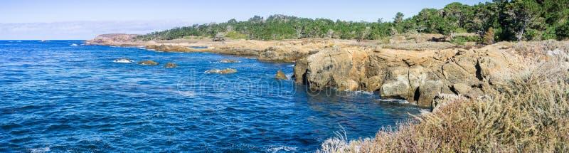 O litoral áspero do Oceano Pacífico, reserva natural do estado de Lobos do ponto, península do Carmel-por--mar, Monterey, Califór fotos de stock