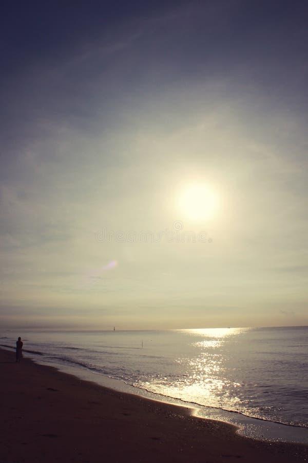 O litoral diagonal no nascer do sol foto de stock