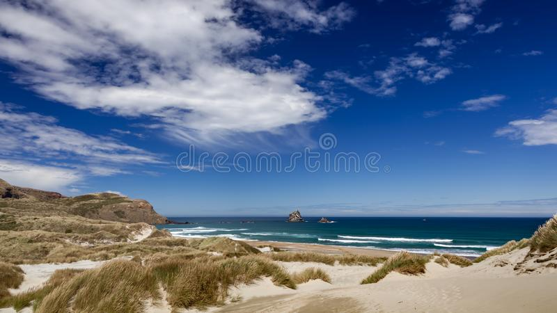 O litoral na baía do Sandfly fotos de stock royalty free