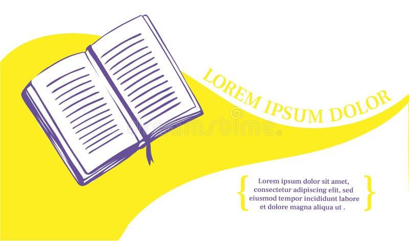 O livro é um símbolo da literatura e do conhecimento Molde da bandeira para uma editora, uma biblioteca ou uma livraria ilustração royalty free