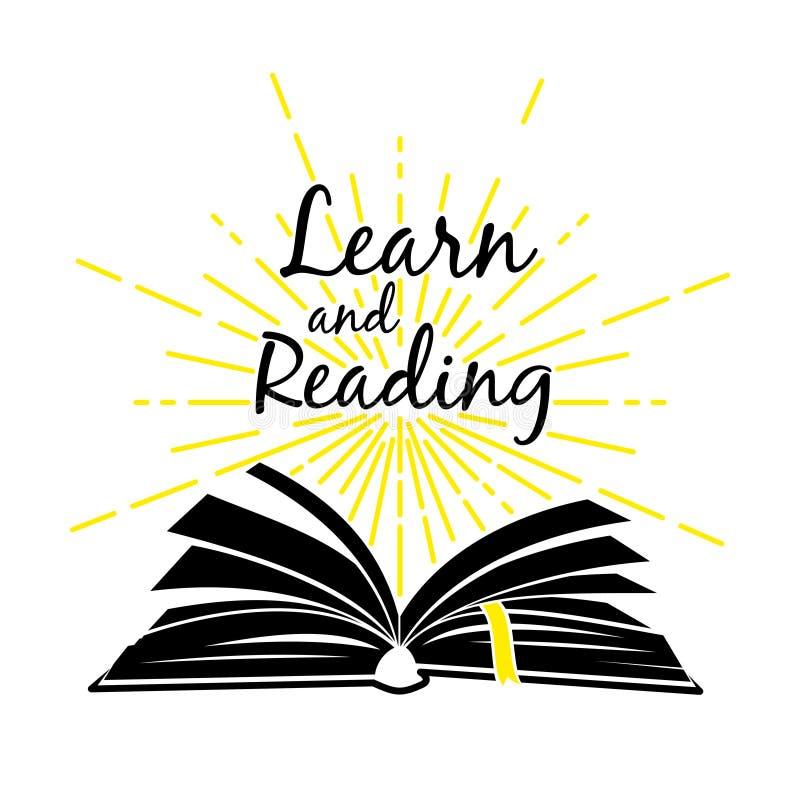 O livro aberto aprende e lê o cartaz ilustração royalty free