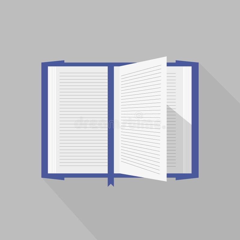 O livro aberto coberto azul com vetor pagina a vibração ilustração do vetor