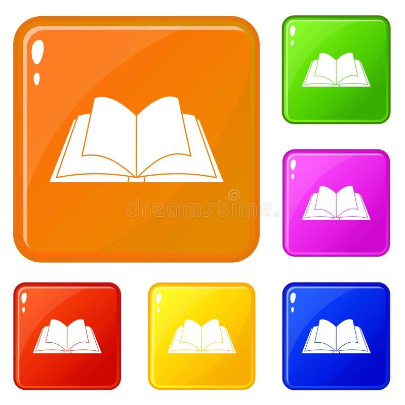O livro aberto com ícones de vibração das páginas ajustou a cor do vetor ilustração stock
