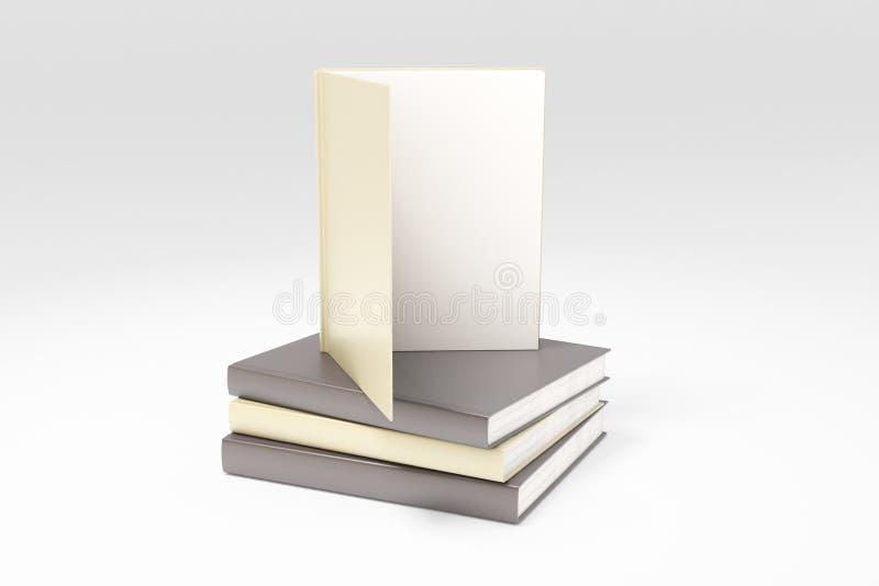 O livro aberto com a página branca vazia na pilha dos livros, zomba acima, 3D ilustração do vetor