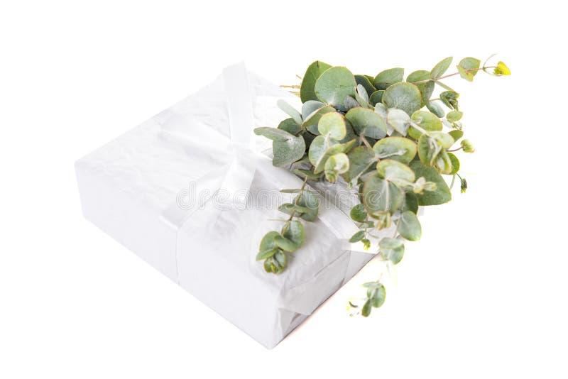 O Livro Branco envolveu a caixa de presente com a decoração verde das folhas foto de stock royalty free