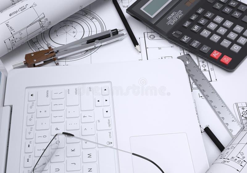 O livro, a calculadora, o papel e o portátil ilustração royalty free