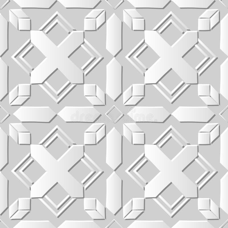 O Livro 3D Branco sem emenda cortou o quadrado transversal da geometria do cristal do fundo 401 da arte ilustração royalty free