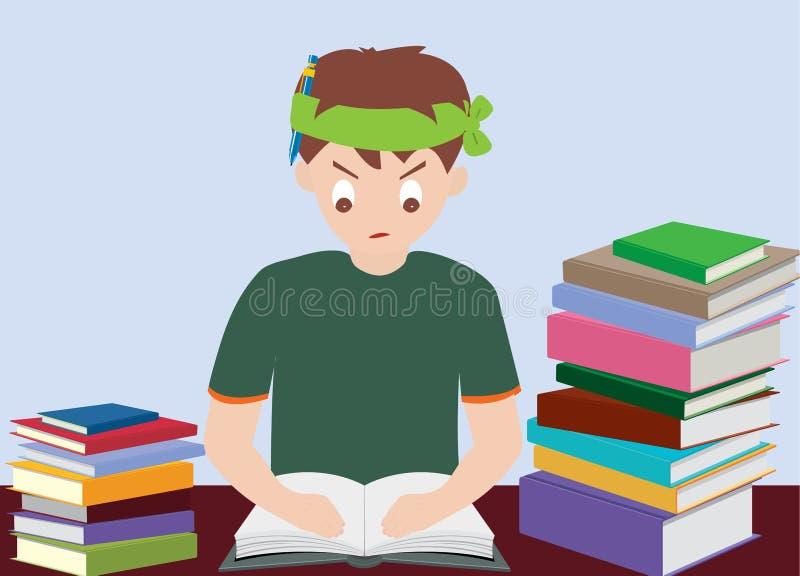 O livro de leitura do menino prepara-se para o exame ilustração do vetor
