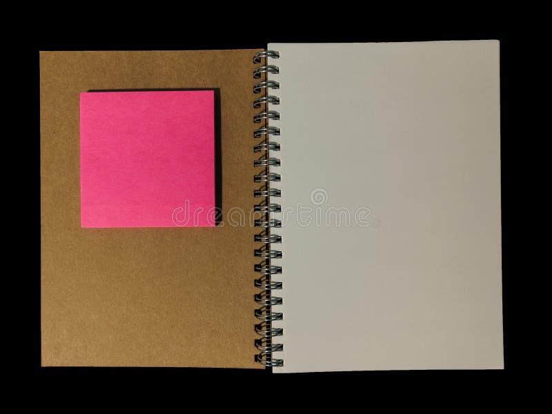 O livro de nota claro da cor abriu para a nota da nota ou da leitura ou o memorando FO fotografia de stock