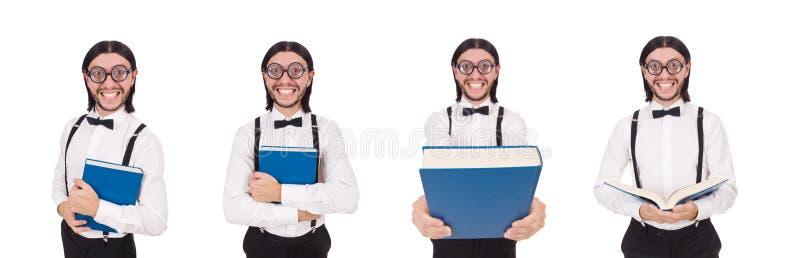 O livro engraçado novo do woth do homem isolado no branco fotografia de stock royalty free