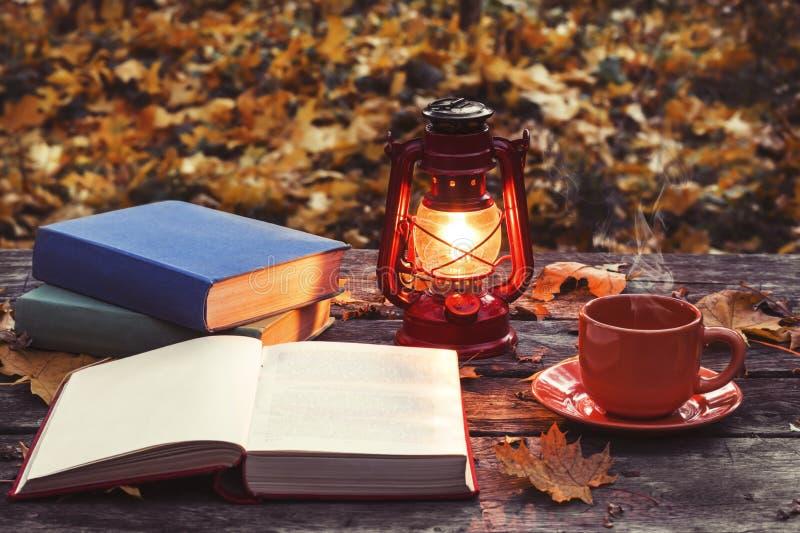 O livro, lâmpada e um copo do café quente na tabela de madeira velha em uma floresta imagens de stock
