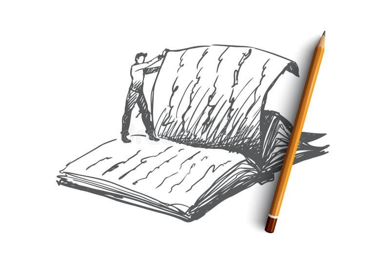 O livro, leitura, biblioteca, leu o conceito Vetor isolado tirado mão ilustração do vetor