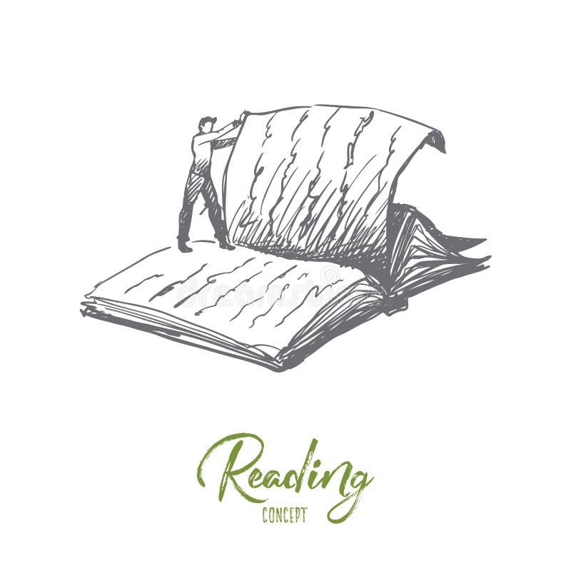 O livro, leitura, biblioteca, leu o conceito Vetor isolado tirado mão ilustração stock