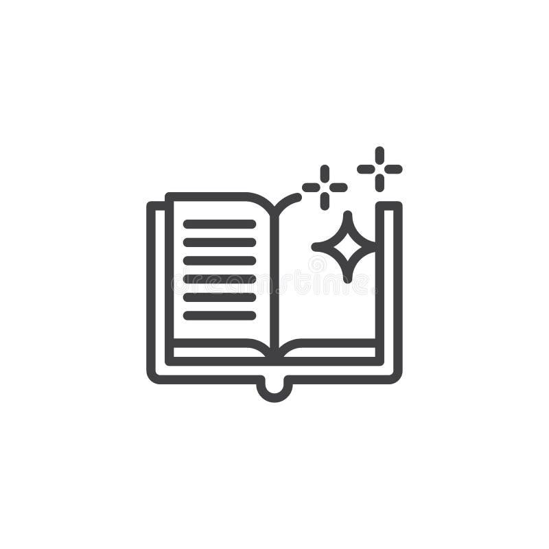 O livro mágico de N com estrelas brilhantes esboça o ícone ilustração royalty free