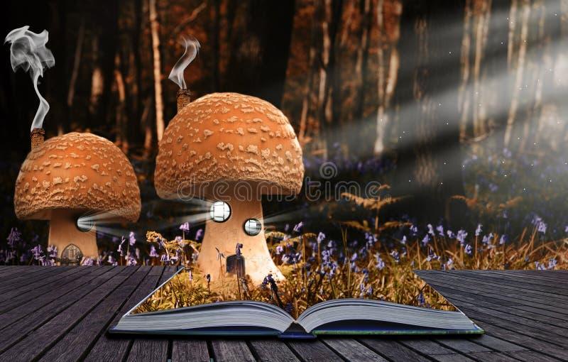 O livro mágico satisfaz o derramamento na paisagem imagens de stock