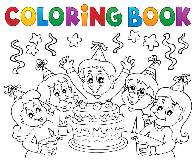 O livro para colorir caçoa o assunto 1 do partido ilustração do vetor