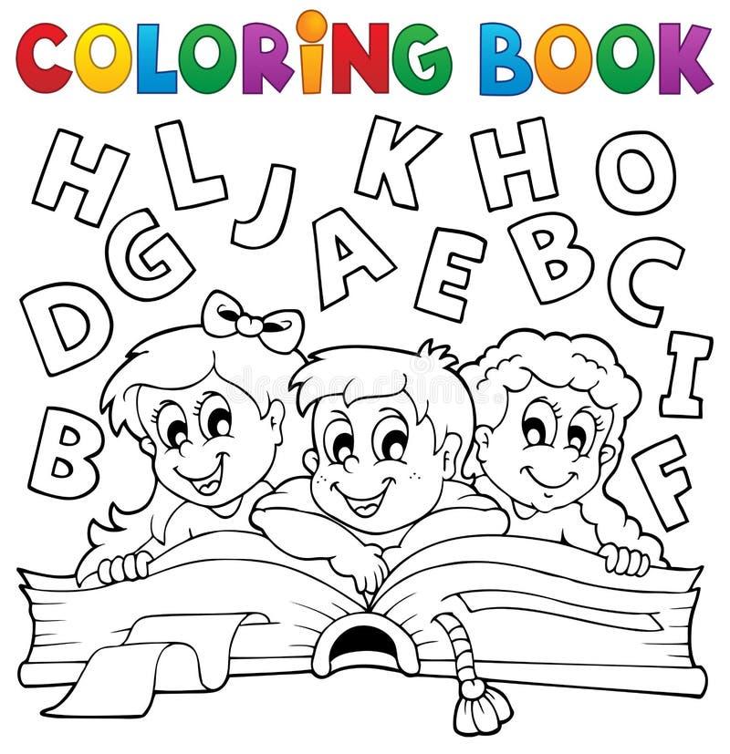 O livro para colorir caçoa o tema 5 ilustração do vetor