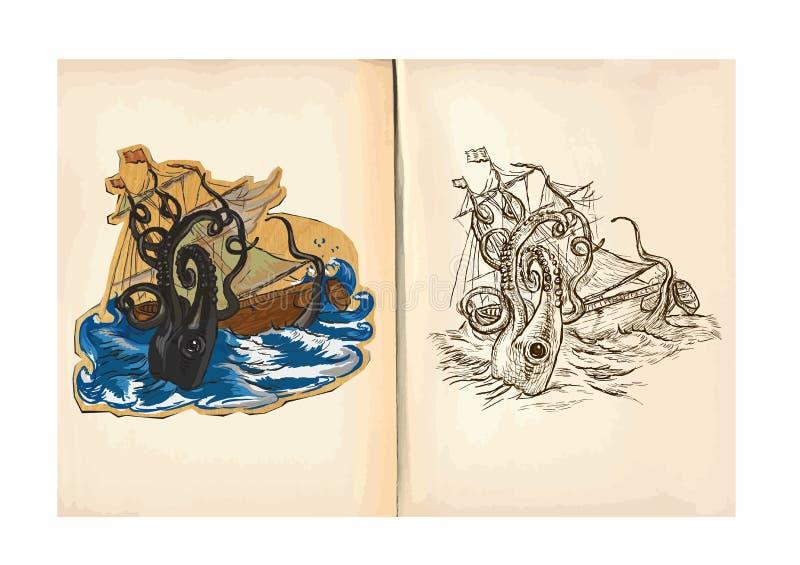 O livro para colorir das crianças - polvo gigante ilustração stock