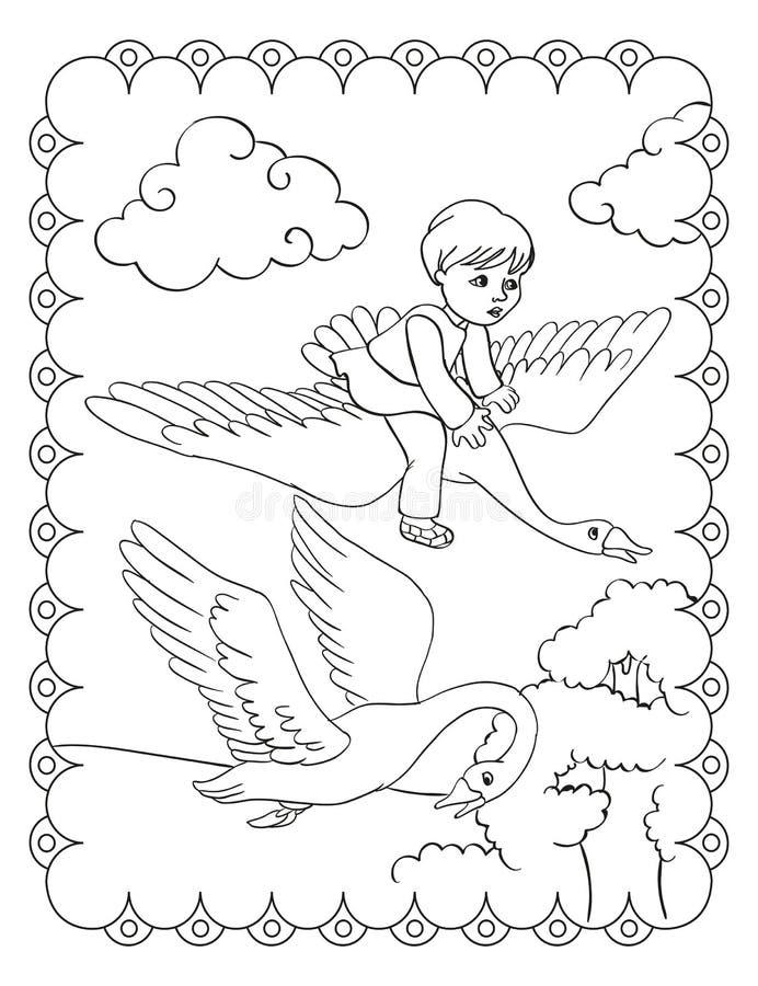 O livro para colorir do menino está voando na cisne ilustração stock