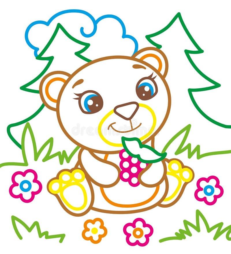 O livro para colorir do urso come framboesas ilustração do vetor