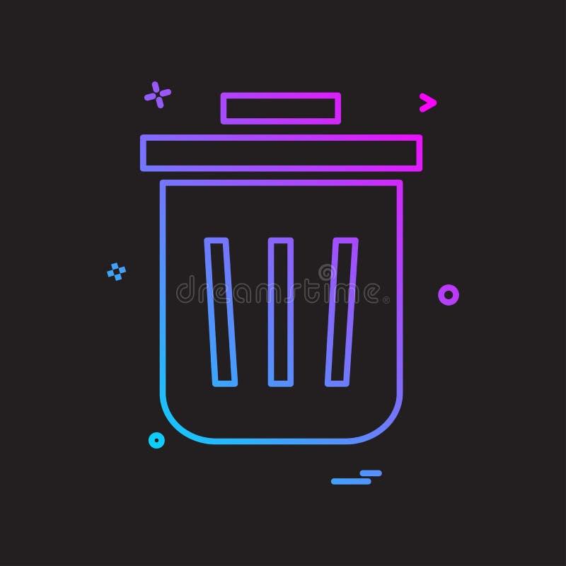 O lixo completo do caixote de lixo do escaninho recicla o projeto do vetor do ícone do lixo ilustração royalty free