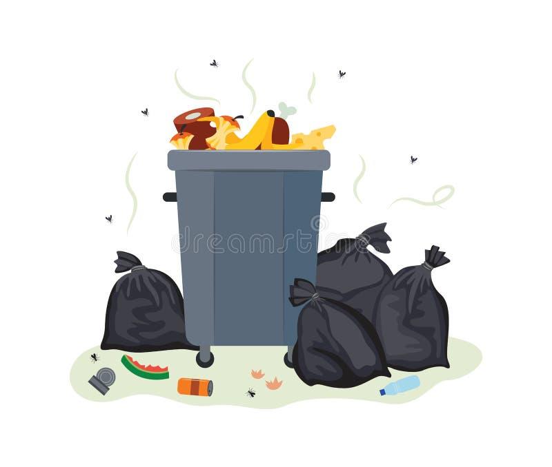 O lixo de metal pode transbordar com lixo alimentar - recipiente de lixo sujo ilustração do vetor