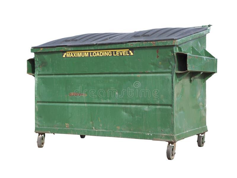 O lixo verde ou recicla o contentor no branco com trajeto de grampeamento imagem de stock royalty free