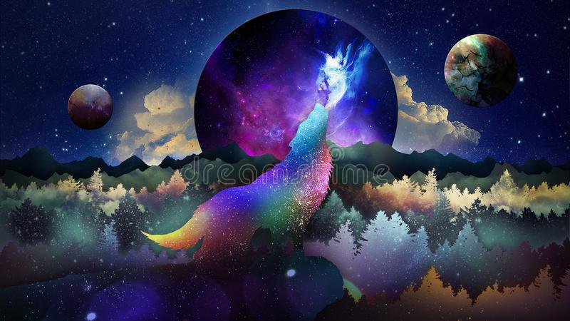 O lobo entre o papel de parede das estrelas imagem de stock royalty free