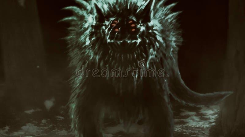 O lobo estrangeiro emerge da floresta escura e abre sua boca ilustração stock