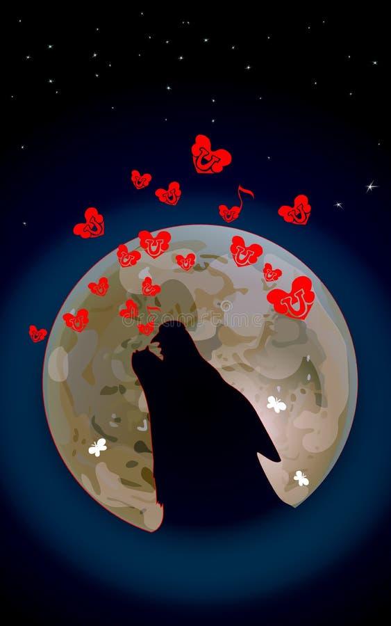 O lobo ou o cão estão urrando à lua escura Ilustração do vetor do amor selvagem Música dos ossos e corações vermelhos pequenos no ilustração do vetor